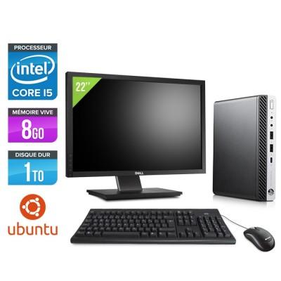 """Pack Pc de bureau HP EliteDesk 800 G3 DM reconditionné + Écran 22"""""""