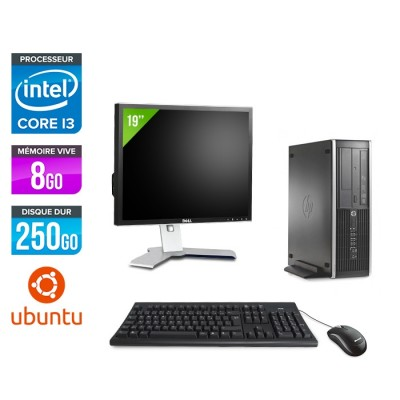 Pack PC bureau HP 6200 PRO SFF - i3 - 8Go - 250Go - Linux - Ecran 19
