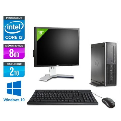 Pack PC bureau HP 6200 PRO SFF - i3 - 8Go - 2To - Windows 10 - Ecran 19