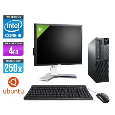 Pack Lenovo ThinkCentre M81 SFF - i5 - 4Go - 250Go HDD - Ecran 19 - Ubuntu / Linux