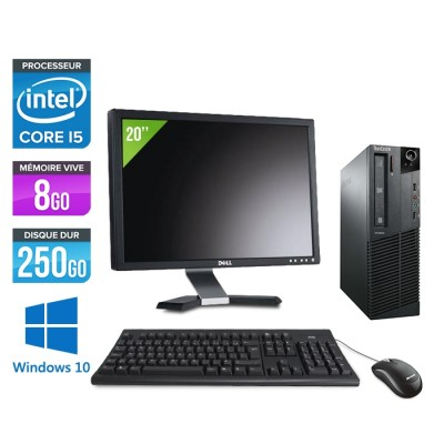Pack Lenovo ThinkCentre M81 SFF - i5 - 8Go - 250Go HDD - Ecran 20 - WIndows 10