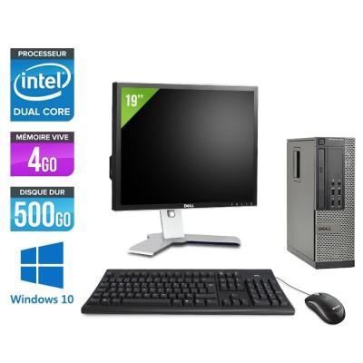 Pc de bureau reconditionné - Dell Optiplex 7010 SFF + Ecran 19'' - Pentium G645 - 4Go - 500Go HDD - Windows 10