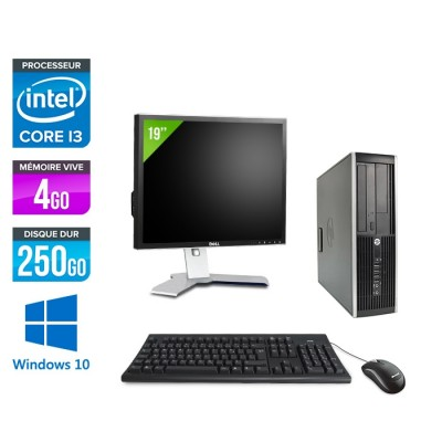 "Pack HP Elite 8300 SFF - i3 - 4Go - 250Go + Ecran 19"" - Windows 10"