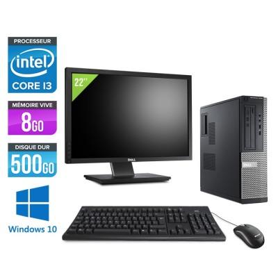 Pack pc de bureau reconditionné avec écran 22 pouces - Dell Optiplex 3010 DT - i3 - 8Go - 500Go HDD - Windows 10