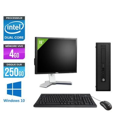 Pack pc de bureau HP EliteDesk 800 G2 SFF reconditionné - G4400T - 4Go DDR4 - 250Go HDD - Windows 10