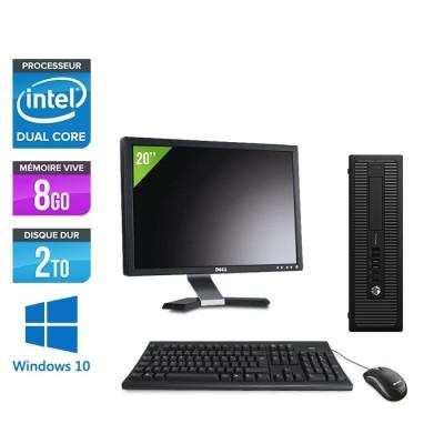 """Pack Ordinateur de bureau + écran 20"""" - HP EliteDesk 800 G1 SFF reconditionné - G3420 - 8Go - 2 To HDD - Windows 10"""