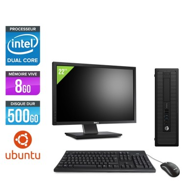 """Pack Ordinateur de bureau + écran 22"""" - HP EliteDesk 800 G1 SFF reconditionné - G3420 - 8Go - 500Go HDD - Ubuntu / Linux"""