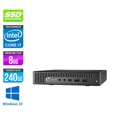 Pc de bureau HP EliteDesk 800 G2 USDT reconditionné - i7 - 8Go DDR4 - 240Go SSD - Windows 10