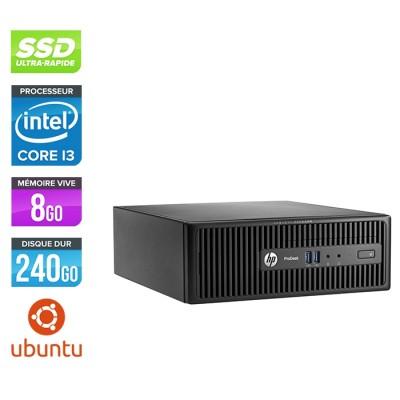 Pc de bureau HP ProDesk 400 G3 SFF reconditionné - i3 - 8Go - 240Go SSD - Linux