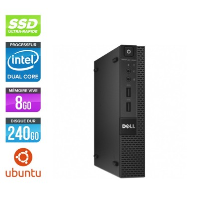 Pc de bureau - Dell 3020 Micro reconditionné - G3250T - 8Go - 240Go SSD - Ubuntu / Linux