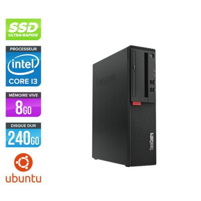 Pc de bureau reconditionne Lenovo ThinkCentre M710s SFF - Intel core i3-7100 - 8 Go RAM DDR4 - 240 Go SSD - Ubuntu / Linux
