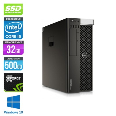 Workstation reconditionné - Dell T5810 - Xeon 1650 - 32Go - 500Go SSD - Nvidia Geforce GTX 1050 - W10