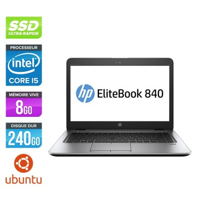 HP Elitebook 840 G2 - i5 - 8Go - SSD 240Go - 14'' - Ubuntu / Linux