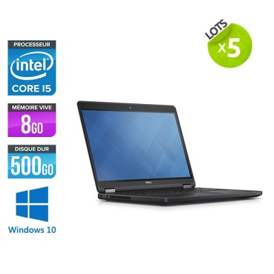 Lot de 5 Pc portable - Dell latitude E5450 - Core i5 - 8Go RAM - 500Go HDD - Webcam - Windows 10