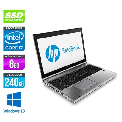 HP EliteBook 8570P - i7 - 8Go - 240Go SSD - AMD 7570M - Windows 10