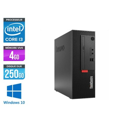 Pc de bureau reconditionne Lenovo ThinkCentre M710e SFF - Intel core i3-6100 - 4 Go RAM DDR4 - 250 Go HDD - Windows 10 Pro