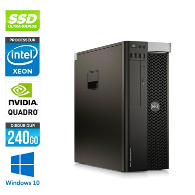Dell T5810 - Xeon 1650 - 16Go - 240Go SSD - Quadro M2000 - W10