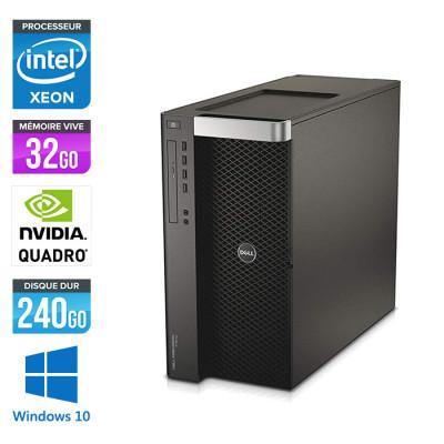 Dell T7610 - 2 x Xeon 2650 V2 - 32Go - 240Go SSD - Quadro K2200 - W10