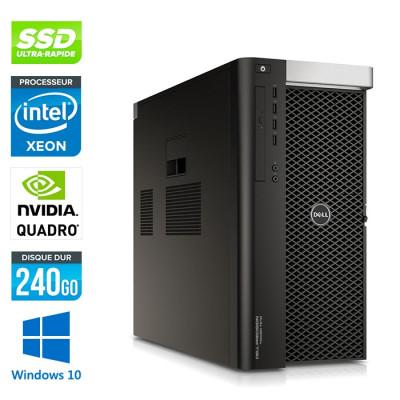 Dell T7610 - 2 x Xeon 2650 V2 - 64Go - 240Go SSD - Quadro K2200 - W10