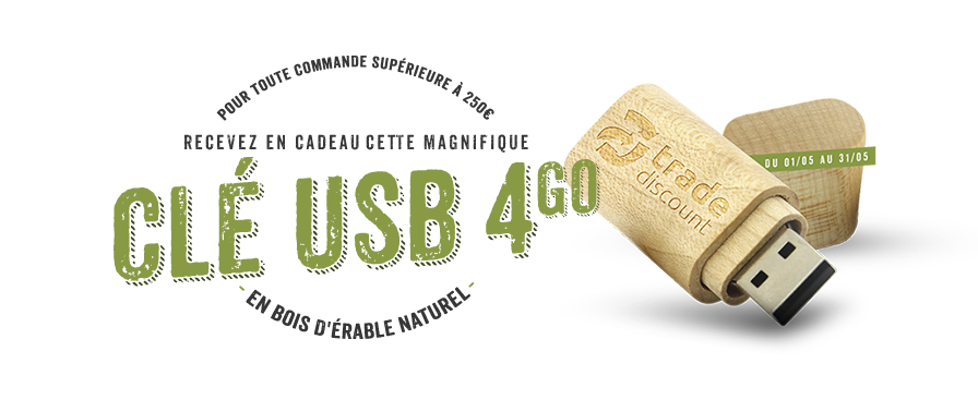 cle usb en bois d'erable naturel offerte