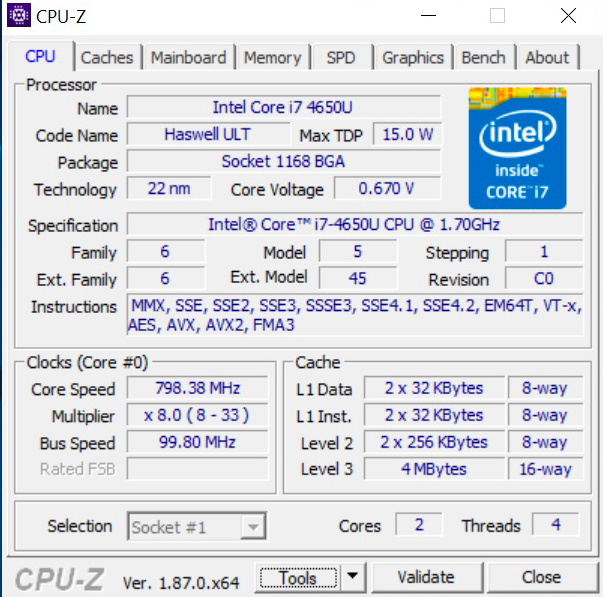 cpu-z surface pro 3 reconditionnée
