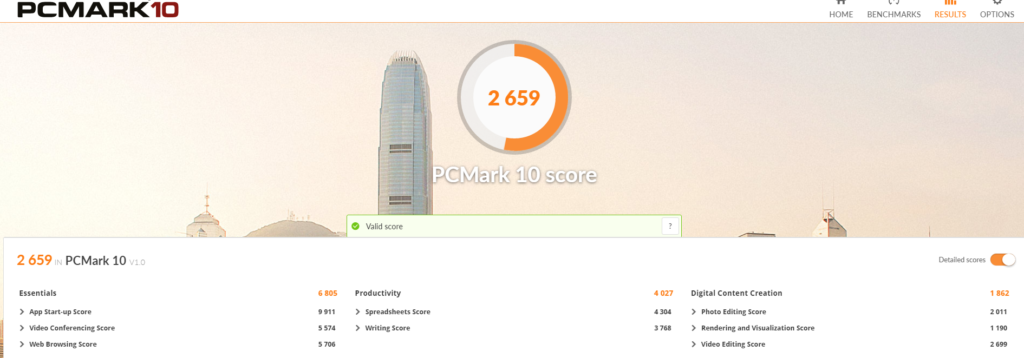 "Résultat benchmark ""PC MARK 10"""