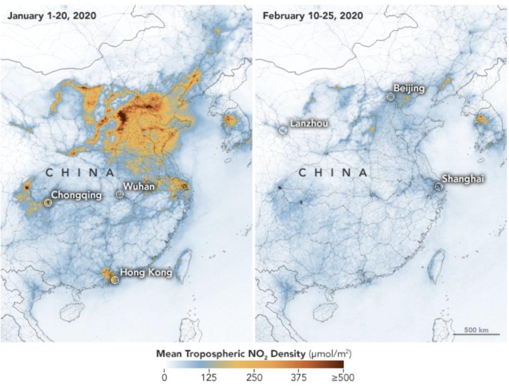 carte des émissions de dioxydes d'azote avant et après la crise du virus