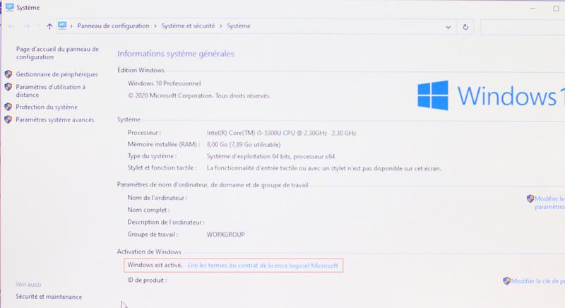 vérifier l'activation de votre licence windows 10