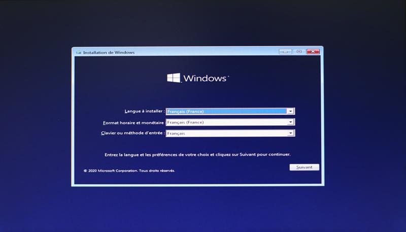 choix de la langue d'installation windows 10