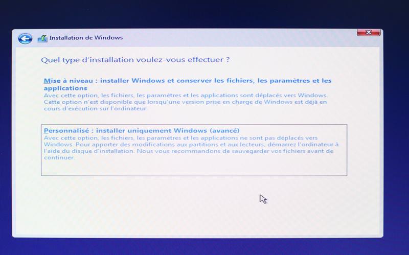 installer windows 10 à partir de votre clé USB