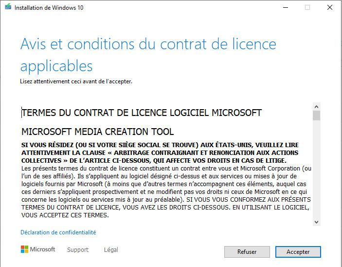 Accepter les conditions d'utilisation pour installer windows 10