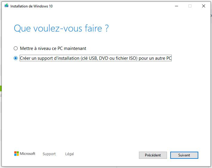 Créer le support d'installation windows 10