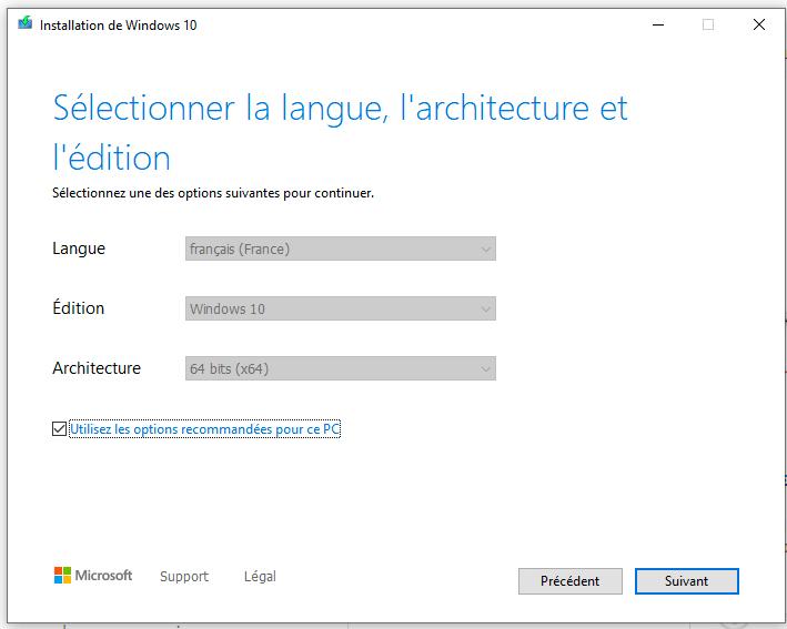 choisir la langue d'installation windows 10