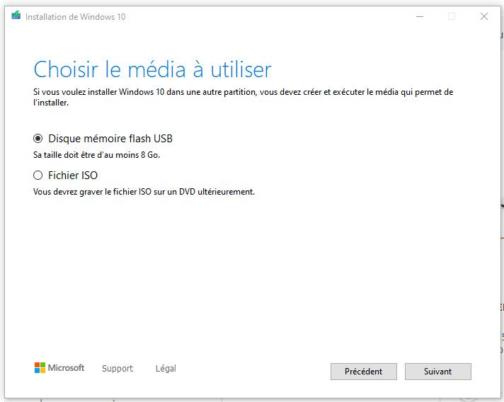 sélectionner le média d'installation de windows 10
