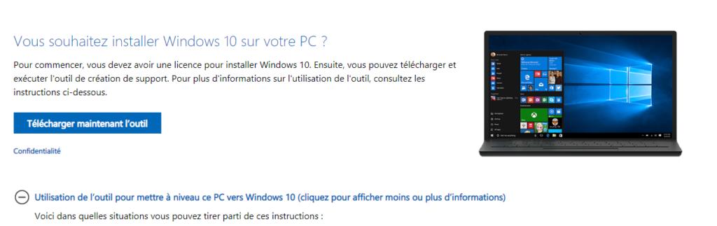 installation windows 10 - Téléchargement de l'outil