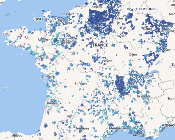Carte de déploiement de la fibre en France en 2020
