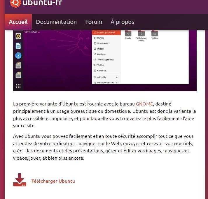 Page téléchargement Ubuntu